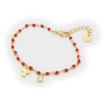 Coral Bracelet for Kids Sterling Silver Gold Plated Cross Hanging   Cz Bezel