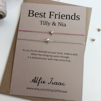 Wish Bracelet - Best Friends set of two bracelets with personalised sentiment card with envelope