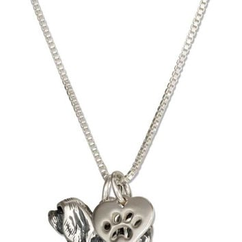 "STERLING SILVER 18"" LHASA APSO DOG PENDANT NECKLACE WITH PAW PRINT HEART"