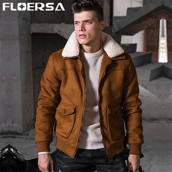 FLOERSA Winter Bomber Jacket Men Slim Thick Warm Male fur Collar Coat Park Jackets Men Outerwear Doudoune Homme Hiver #6012-50