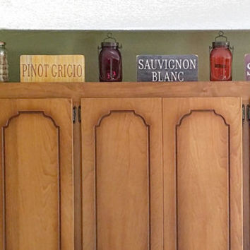 "WINE SIGN With STAND, Distressed Wood Styles, Choose Your Wine & Sign Color, 5""x10""  Tuscan Decor, Cabinet Decor, Bar Sign, Made To Order"
