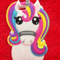Hot Cute 3D Rainbow Unicorn Horse Animal Cartoon Soft Silicone Phone Cases Cover For iPhone 7 7Plus 5 5S 5C SE 6 6G 6S 6Plus 5.5