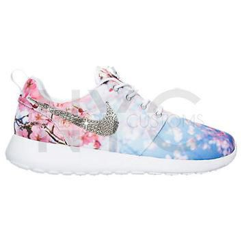 LIMITED Cherry Blossom Blinged Nike Roshe Run Shoes w/ Swarovski Crystal Rhinestones