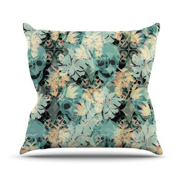 """Akwaflorell """"Dead's Head Party""""  Outdoor Throw Pillow - Outlet Item"""