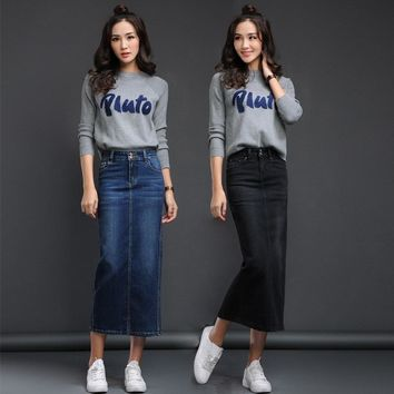 2017 Women's long denim skirt korean style back split long stretch denim skirt spring high waist jeans wrap hip skirt