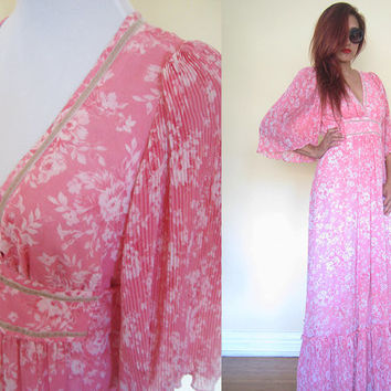 Vintage 70's pink floral flower bell sleeves hippie boho bohemian pleated lounge maxi rose wedding party dress