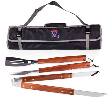 Louisiana Tech Bulldogs 3-Pc BBQ Tote & Tools Set-Black Digital Print