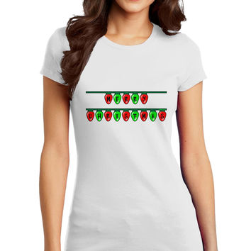 Merry Christmas Lights Red and Green Juniors T-Shirt