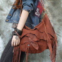 Tribal chestnut caramel brick brown leather fringed hobo bag fringe artistan purse bohemian african jungle raw leather festival free people