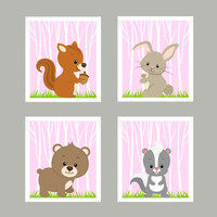 Woodland Animals, Forest Animals on Baby Pink CUSTOMIZE COLORS, 8x10 Prints, set of 4, Nursery Decor, Animal Print, Baby Boy Wall Prints