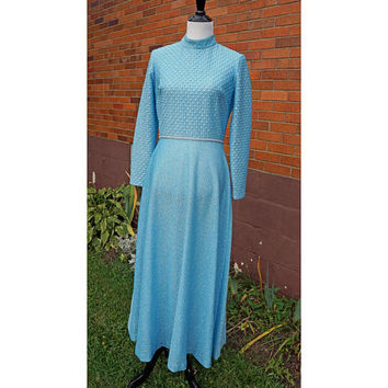 Vintage Handmade Powder Blue Sparkle Dress, Long Glitter Princess Maxi, Formal, Costume, Occasion, 70s, Long sleeves, mock neck