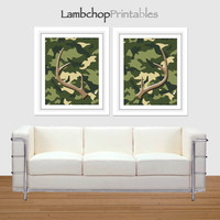 Camouflage Deer Antler Set, Camo Antler Print ,Set of 2, 8x10, 16x20 poster, Antler Decor, Deer Rack, Home Decor, Boys Nursery, Boys room