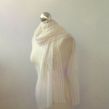 lace scarf,Very Ligh Cream hand knitted alpaca and silk lace scarf with Frost Flowers pattern