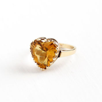 Vintage 14k Rosy Yellow Gold Citrine Heart Ring - Art Deco 1940s Size 8 Romantic Fancy Cut Yellow Orange Gemstone Fine Engagement Jewelry
