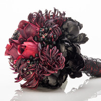 "Burgundy and Black Gothic Bridal Bouquet --- ""Elvira"""