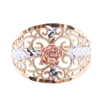 Tri Color Gold Ring Openwork Scrolled Design and Rose Accent, 10k Gold Ring Size 6, Tri Color Band Ring, Ring with Rose Design