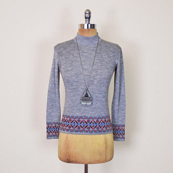 Vintage 70s Grey Ethnic Tribal Print Sweater Jumper Top Turtleneck Mock Neck 70s Sweater Hippie Sweater Hippy Boho Sweater XS Extra Small
