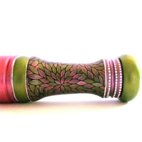 Metallic Green and Hot Pink: Hand painted Pepper Mill or Salt Mill