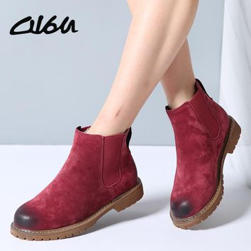 O16U Winter Women Chelsea boots Shoes genuine leather slip on ladies flats boots Fur Spring Retro Women Martin Boots footwear
