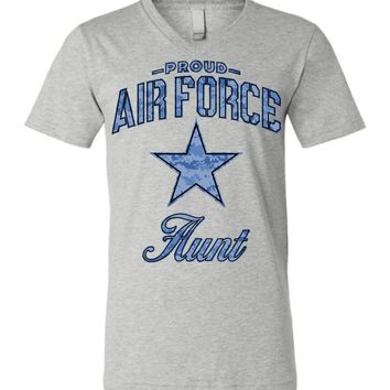 Proud Air Force Aunt Unisex V-Neck T-Shirt (Camo)