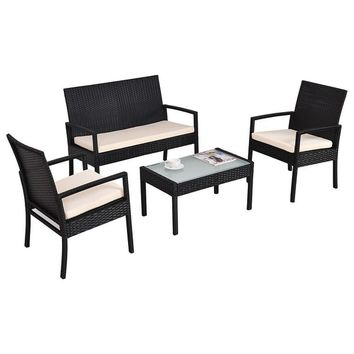 Costway 4 PCS Outdoor Patio Furniture Set Table Chair Sofa Cushioned Seat Garden | Overstock.com Shopping - The Best Deals on Dining Sets