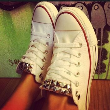custom studded white converse all star low cuts chuck taylors all sizes colors