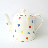 Vintage Staffordshire Hearts Teapot / Moorland Chelsea Works Burslem / Ceramic Whimsy Kitsch Tea Pot