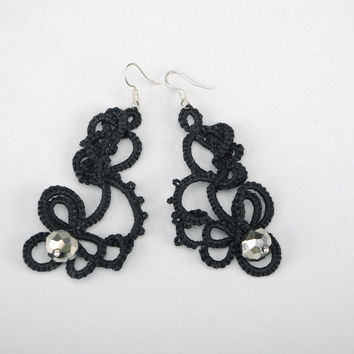 Earrings tatting technique handmade fashion jewelry accessories original present