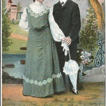 Proper Lady with Gentleman Beautiful Green Edwardian Dress with Parasol Castle In Background Vintage Postcard 1906