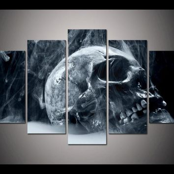 (Framed) 5 Sets Halloween Horror Skull Modern Home Wall Decor Canvas Picture Art HD Print Painting On Canvas For Living Room