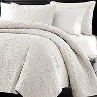 "Multiple Sizes - Oversized 3pc Quilted Coverlet Set- White -King- 1 Coverlet 104""x 96"" and 2 pc. Quilted Sham 20""x36"" - Exclusively by Blowout Bedding RN 142035"