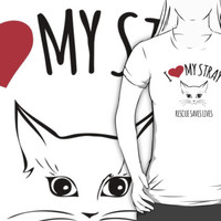 Cool 'I Heart My Stray, Rescue Saves Live' Cat Rescue T-Shirt and Accessories