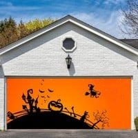 Garage Door Halloween Decorations Cover Decor Bats Pumpkin Witch Bat Billboard Outside Decoration for Garage Door Halloween