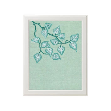 Tiffany modern cross stitch pattern nature tree leaves counted chart wall art home decor gift