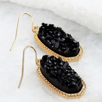 Oval Druzy Earrings - Black