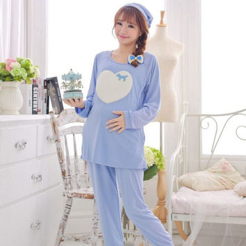 Pregnant Women Clothes Postpartum Nursing Clothes Suit Nursing Maternity Clothing Set Cute Women Maternity Nightgown = 1945866244