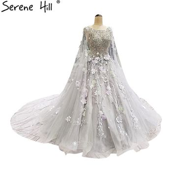 Grey Sleeveless Shawl Yarn Tulle Wedding Dresses Beading Sequined Court Train Bridal Gown