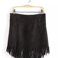 High Waist Fringed Mini Skirt