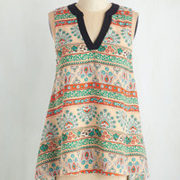 Boho Mid-length Sleeveless Vacay Days Top