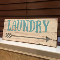A POPULAR ITEM! LAUNDRY room decor. Rustic distressed wood pallet sign.