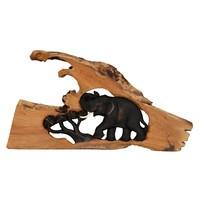 """Thai Elephant Wall Carving/Sculpture, Hand-Crafted from Teak Wood - """"Pook"""""""