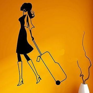 Wall Sticker Vinyl Decal Beautiful Girl Airport Tourist Travel Suitcase Unique Gift (ig1884)