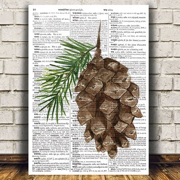 Pine cone poster Watercolor art Pine print Dictionary print RTA1345