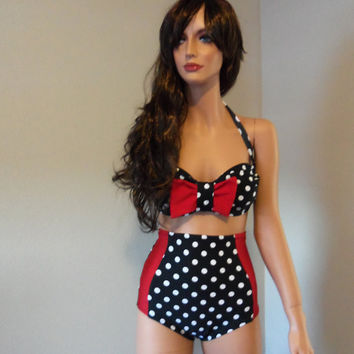 Red Bow Black with White Polka dot high waist retro by meshalo