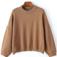 Khaki Round Neck Batwing Sleeve Crop Sweater