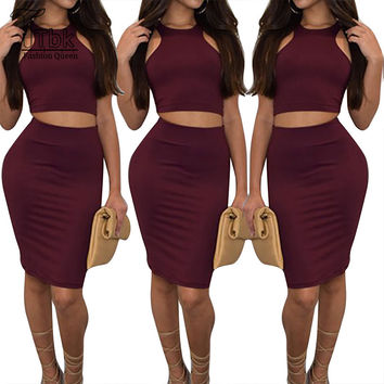 d22ede7532 Women Two Piece Outfits New Arrival Summer Solid 2 Piece Bandage Dress High  Waist Sexy Club