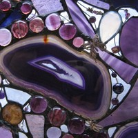 What Dragonflies Dreams Stained Glass Amethyst Abstract Art Panel | TYorkStainedGlass - Glass on ArtFire