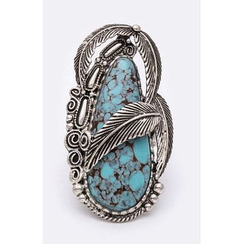 Felicia turquoise feather ring