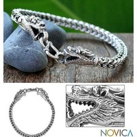 Fair Trade Sterling Silver Chain Bracelet - Dragon Art | NOVICA
