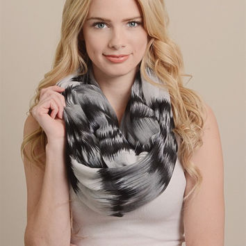 Abstract Watercolor Infinity Scarf-Black